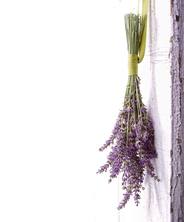 Lavendar hanging from an old vintage door, room for copy space Stock Photo
