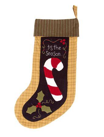 Handmade Christmas candy cane stocking isolated on white Stock Photo - 15201317