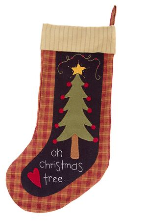 Handmade Christmas tree stocking isolated on white Stock Photo - 15201341