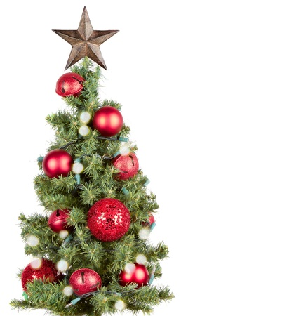 christmas decorations with white background: Christmas tree with red ornaments and star, isolated on white Stock Photo