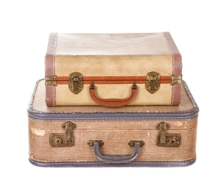 two vintage suitcases stacked isolated on white Stock Photo - 14965998