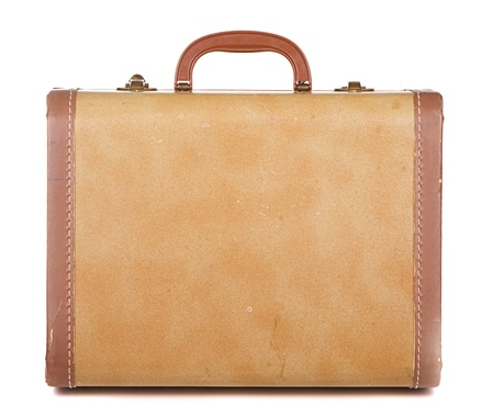 antique suitcase: Antique or retro luggage or suitcase on a white background