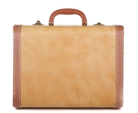 valise voyage: Bagages antiquités ou rétro ou une valise sur un fond blanc