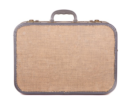 valise: Antique or retro luggage or suitcase on a white background