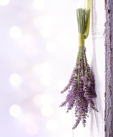 wooden aromatherapy: Lavendar hanging from an old vintage door, room for copy space Stock Photo