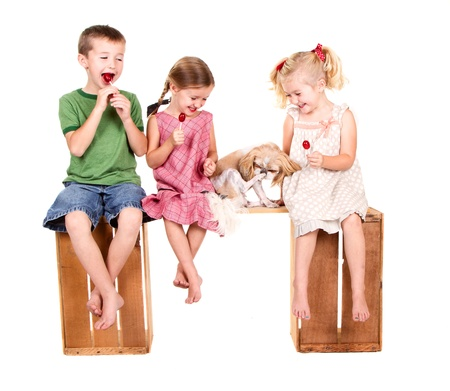 lolli: Three kids sitting and a dog on a bench eating lolli pops, isolated on white