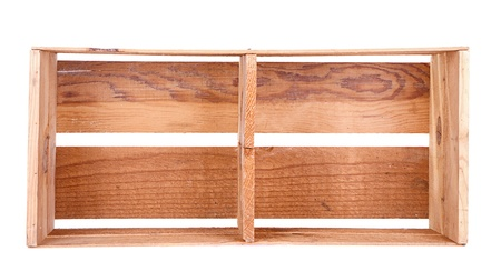A long wooden crate on its side isolated on white