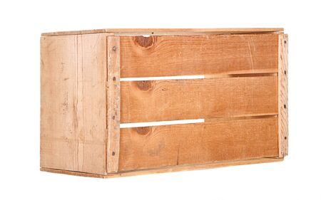 crates: A single wooden crate isolated on white