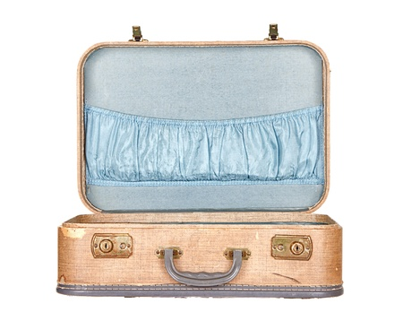 vintage suitcase or luggage open, isolated on white
