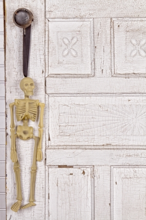 Skeleton hanging from an antique door as a background Stock Photo