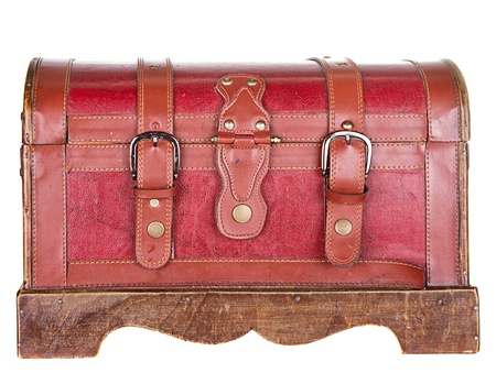 Worn leather chest or trunk isolated on white