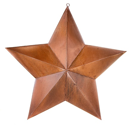 western usa: Rusty star isolated on white Stock Photo