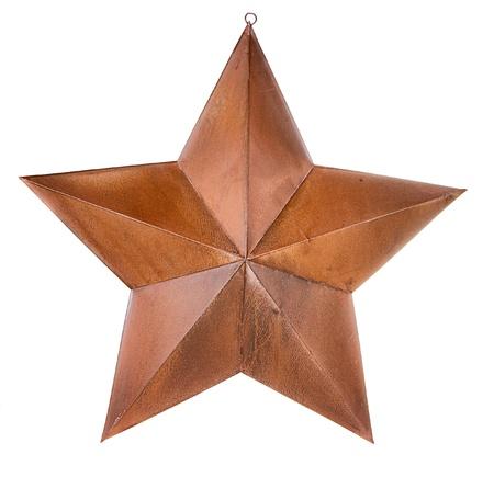 Rusty star isolated on white Archivio Fotografico