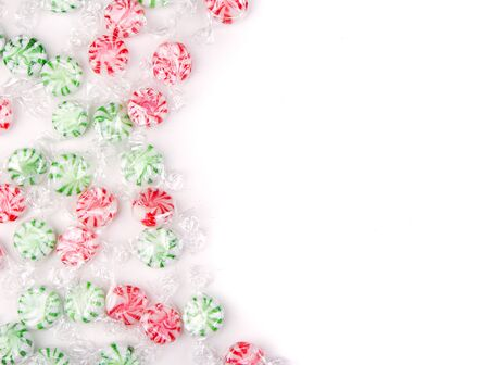 peppermint candy: Christmas candy on a white background Stock Photo