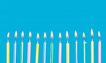 candle flame: Birthday candles in a row with flames on a blue background Stock Photo