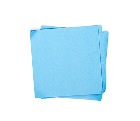 blue sticky note on white background photo