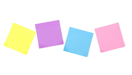 Sticky notes on a white background