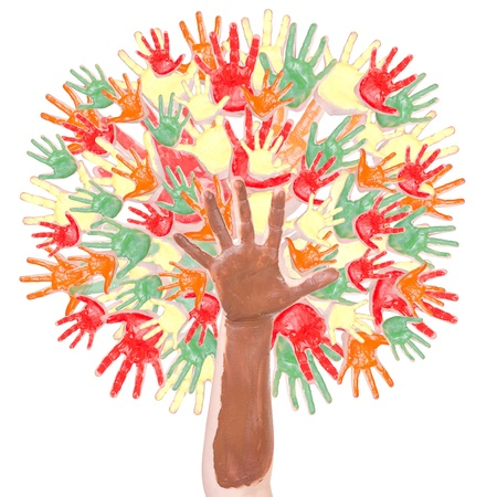 Autymn tree made of many childrens hands isolated on white background photo