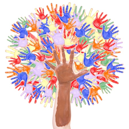 Tree in rainbow colors made of childrens hands isolated on a white background