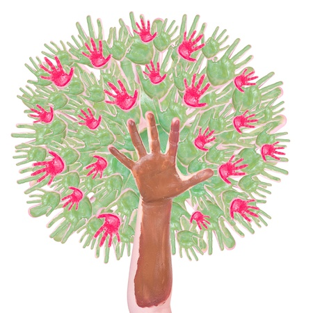 apple tree made of childrens hands isolated on a white background
