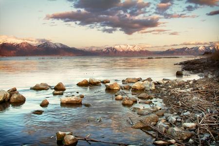 wasatch: Utah lake with Timpanogos mountains in the background, taken in Saratoga Springs Utah at sunset