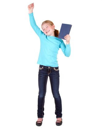 pre adolescents: Child or girl holding book above head isolated on white background