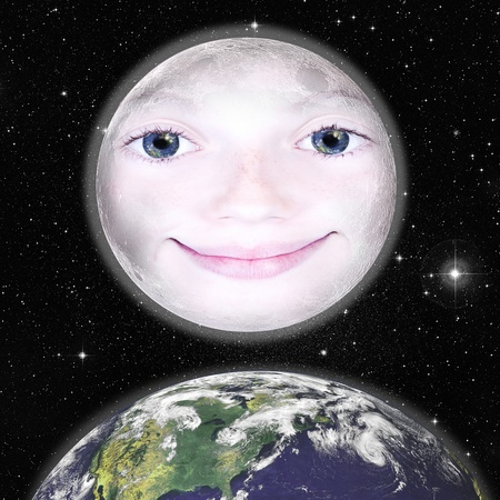 Girls face in the shape of a full moon, photograph with star background and above the earth: parts of this image furnished by NASA photo