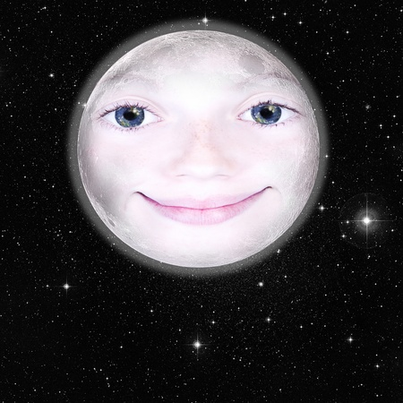nighttime: Girls face in the shape of a full moon, photograph with star background: parts of this image furnished by NASA Stock Photo