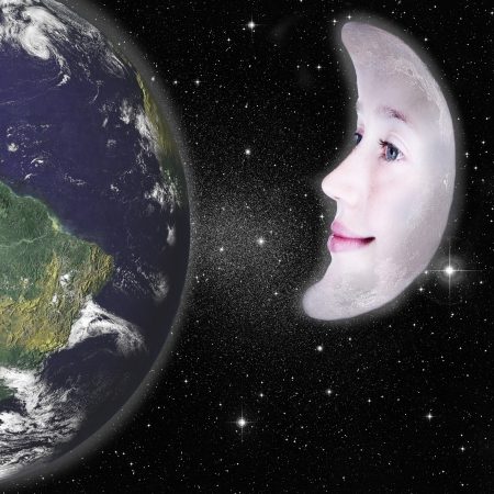 Girls face in the shape of a cresent moon, photograph with star background and above the earth: parts of this image furnished by NASA photo