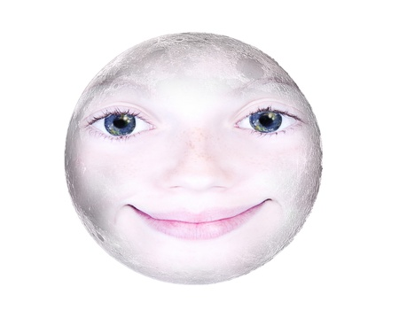 Girls face in the shape of a full moon, photograph isolated on white background: parts of this image furnished by NASA Stock Photo - 20860165