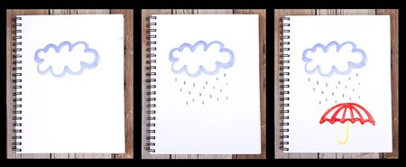 Series of paintings of sketches on notebook of clouds with rain and umbrella, on wooden plank for background Stock Photo - 20977970