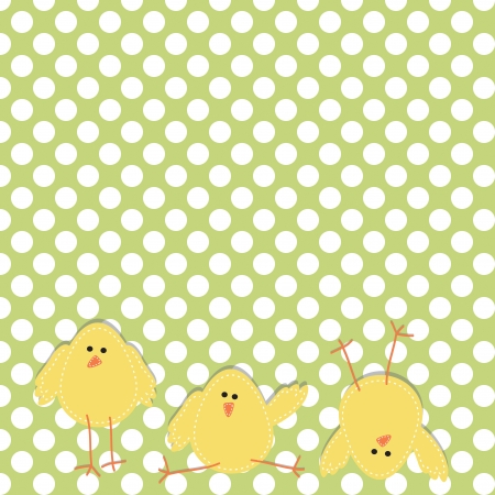 Three chicks on the bottom of the page in funny poses, with polka dot