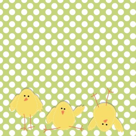 Tres polluelos en la parte inferior de la página en poses divertidas, con lunares