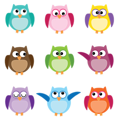 Group of nine owls in different colors on white