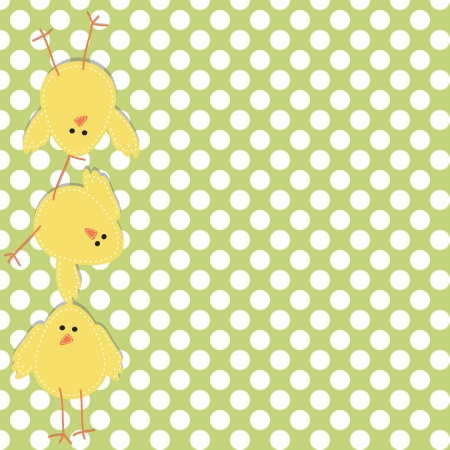 Three chicks stacked on top of each other, with a polka dot background Vector