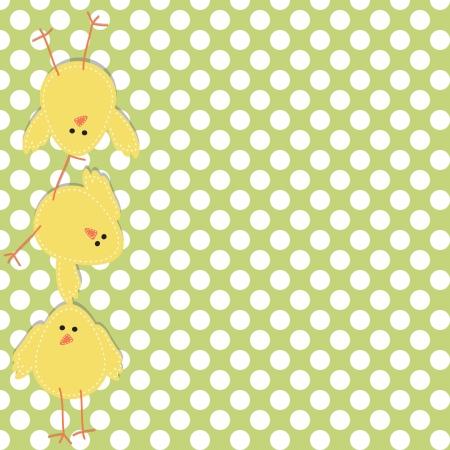 pollitos: Tres polluelos apilados uno encima del otro, con un fondo de lunares Vectores