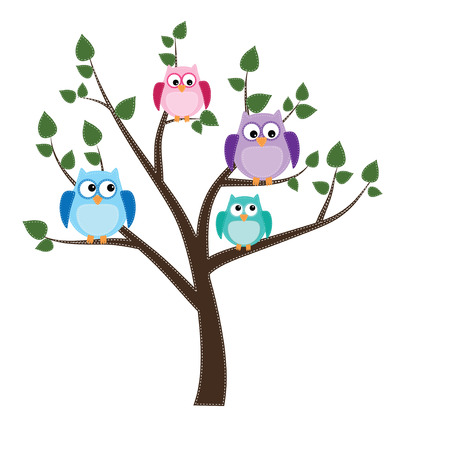 owls sitting in a tree with white backgraound Vector