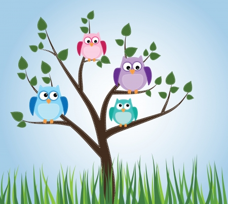 Owls sitting in a tree with sky and grass Illustration