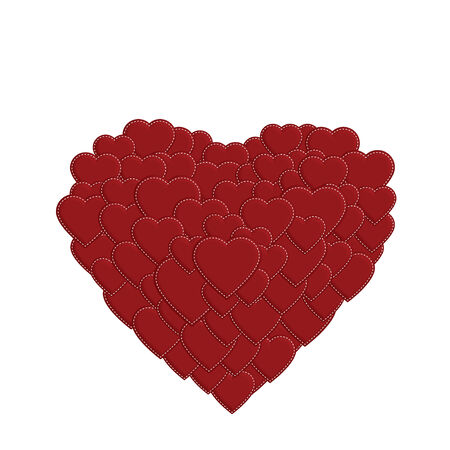larger: Red stitched hearts in different sizes forming a larger heart shape on white background Illustration
