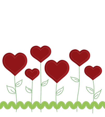 stitched: Heart flowers with stitched stems and leaves decorated with rick rack ribbon, on white background Illustration