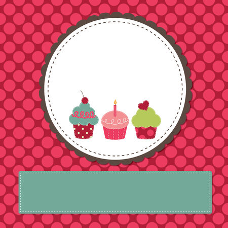 Cupcakes on a retro template copy space for text and scrapboooking Vector