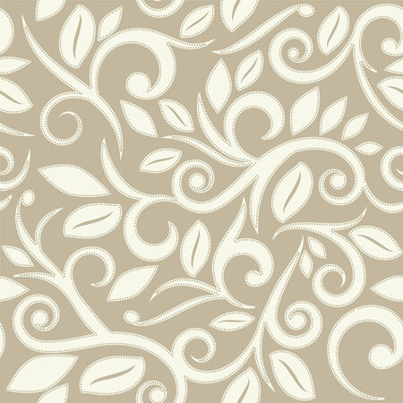 beige tan or cream floral seamless pattern with dots square layout for scrapbooking Vector