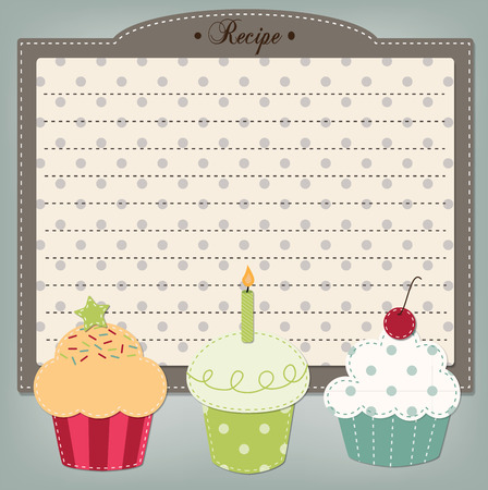 recipe card: Retro cupcake recipe card, menu, or birthday invitation dashed lines for text