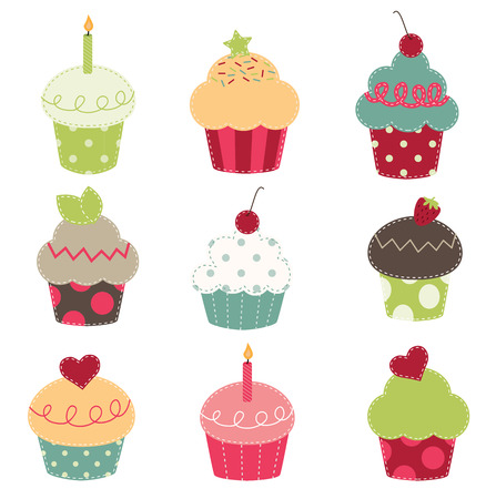 nine retro cupcake cutouts on a transparent background Vector