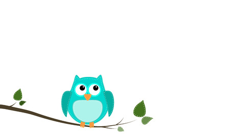 Blue stitched owl sitting on a branch with an isolated white background Illusztráció