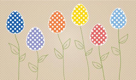 Easter eggs on flower stems, on polka dot background Vector
