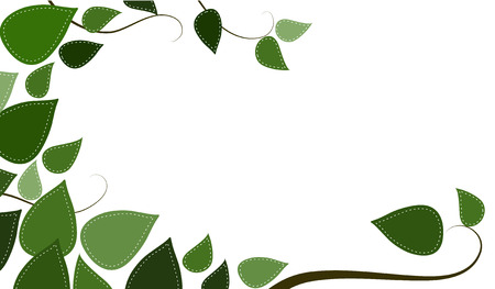Stitched leaves and branches on an isolated white background Ilustrace