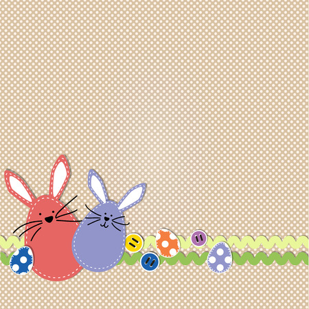 rick rack: Easter bunnies with easter eggs and sewing buttons on polka dot background Illustration