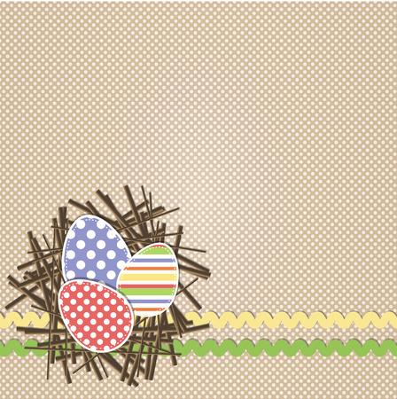 Easter eggs in nest with rick rack on brown polka dot background