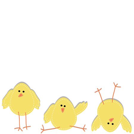 Three chicks on the bottom of the page in funny poses, on isolated white background